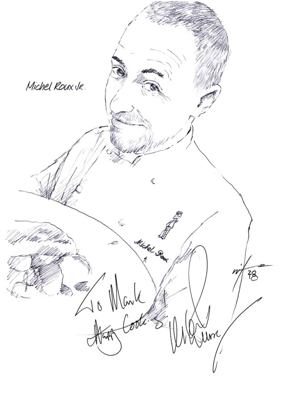 Autographed drawing of Chef Michel Roux Jr