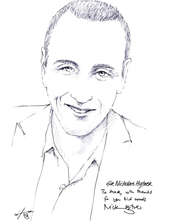 Autographed drawing of Sir Nicholas Hytner
