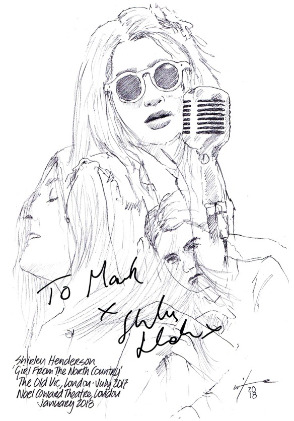 Autographed drawing of Shirley Henderson in Girl From The North Country at The Old Vic Theatre in London, and the Noel Coward Theatre on the West End
