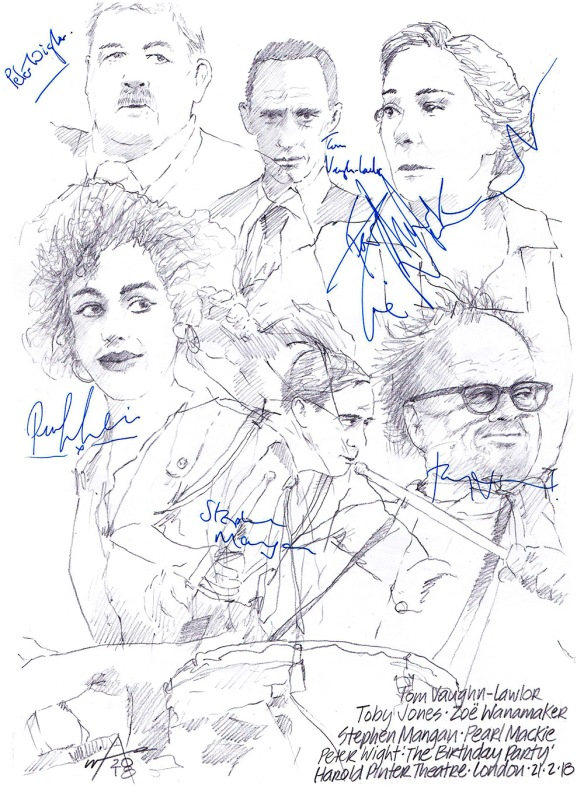 Autographed drawing of Toby Jones, Zoe Wanamaker, Stephen Mangan, Pearl Mackie, Peter Wight and Tom Vaughn-Lawlor in The Birthday Party at the Harold Pinter Theatre on London's West End