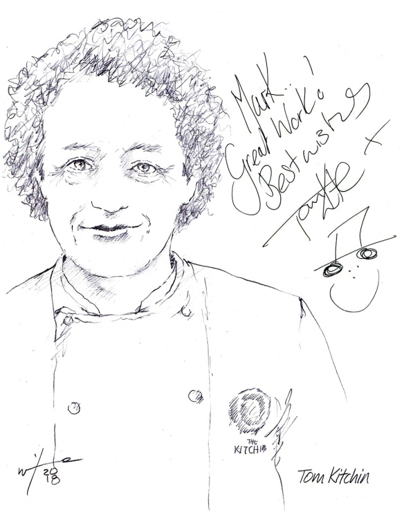 Autographed drawing of chef Tom Kitchin