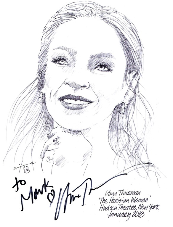 Autographed drawing of Uma Thurman in The Parisian Woman at the Hudson Theater in New York