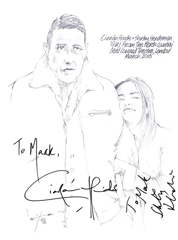 Autographed drawing of Ciaran Hinds and Shirley Henderson in Girl From The North Country at the Noel Coward Theatre on London's West End