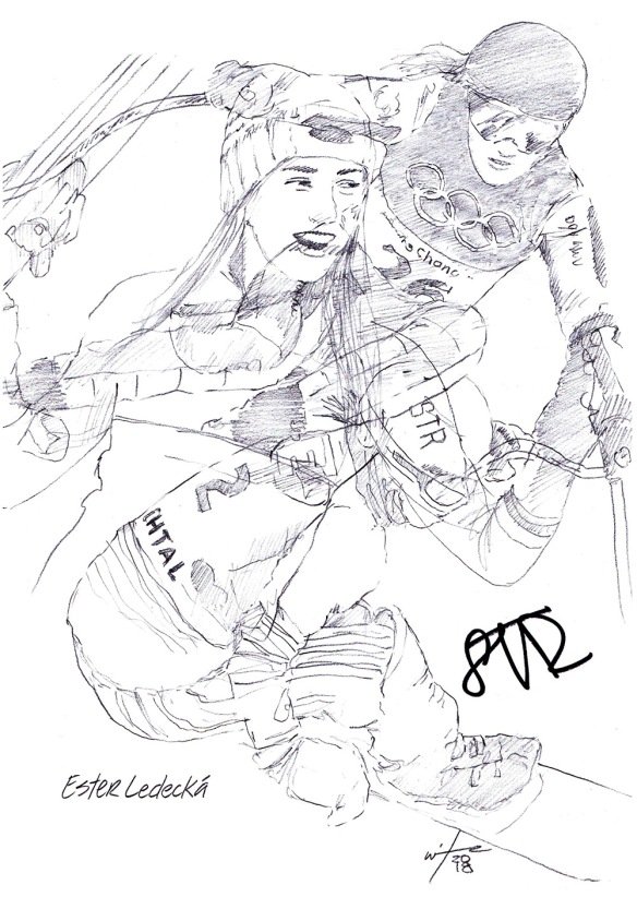 Autographed drawing of snowboarder and skiier Ester Ledecka