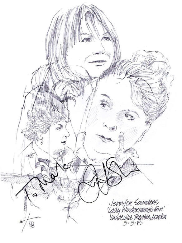 Autographed drawing of Jennifer Saunders in Lady Windermere's Fan at the Vaudeville Theatre on London's West End