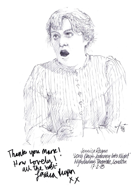 Autographed drawing of Jessica Regan in Long Day's Journey Into Night at Wyndham's Theatre in London's West End