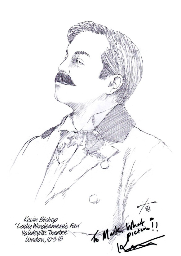 Autographed drawing of Kevin Bishop in Lady Windermere's Fan at the Vaudeville Theatre on London's West End
