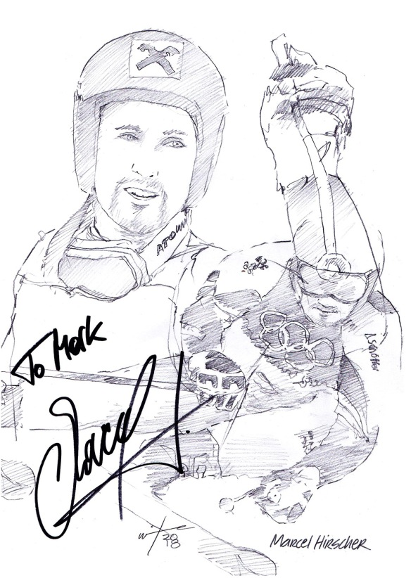 Autographed drawing of skiier Marcel Hirsher