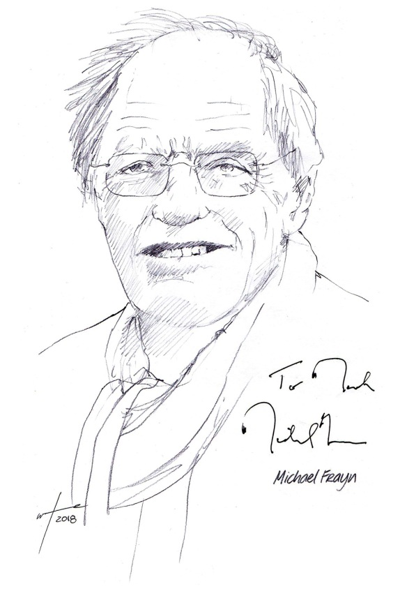 Autographed drawing of writer Michael Frayn