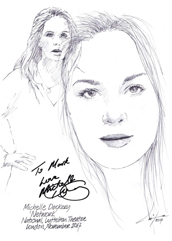 Autographed drawing of Michelle Dockery in Network at the National Lyttelton Theatre