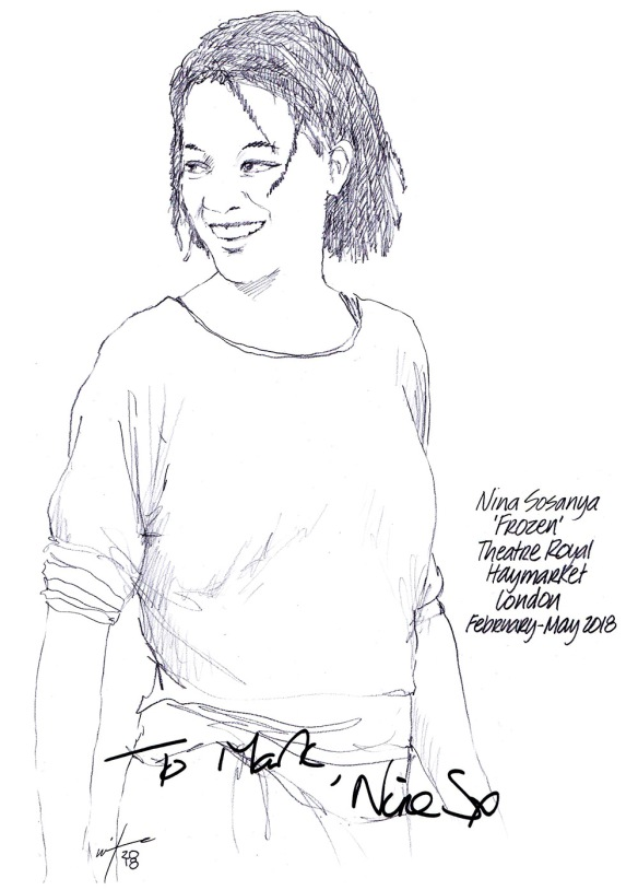 Autographed drawing of Nina Sosanya in Frozen at the Theatre Royal Haymarket on London's West End