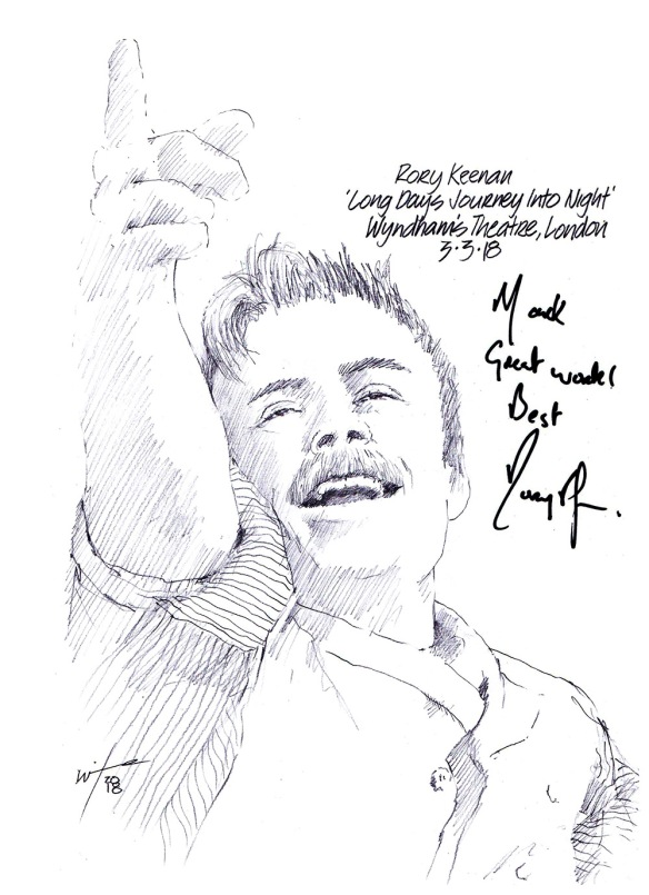 Autographed drawing of Rory Keenan in Long Day's Journey Into Night at Wyndham's Theatre on London's West End