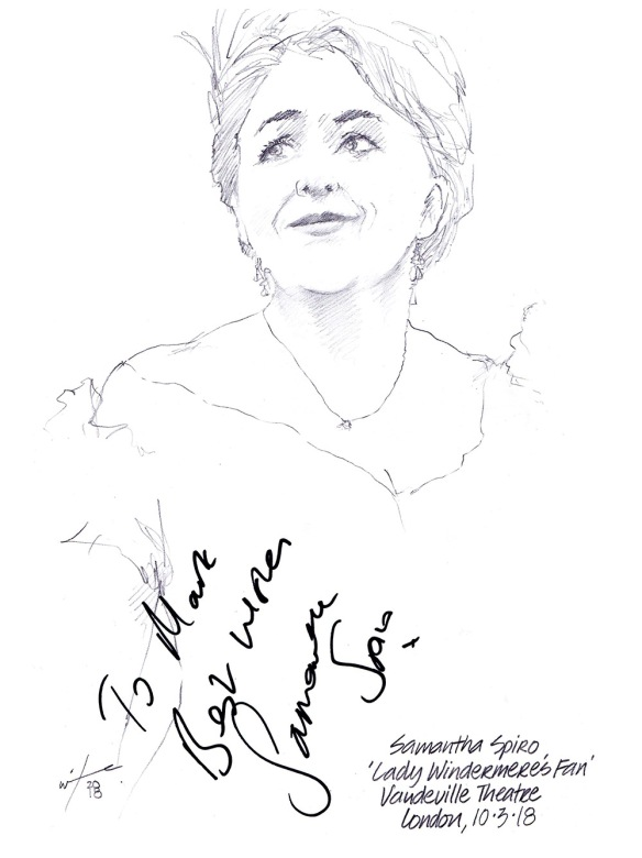 Autographed drawing of Samantha Spiro in Lady Windemere's Fan at the Vaudeville Theatre on London's West End