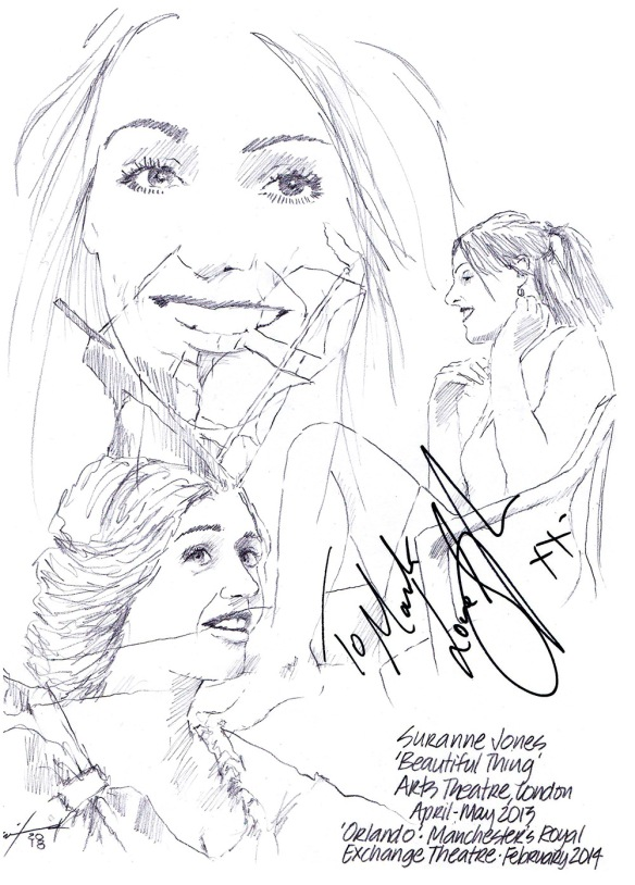 Autographed drawing of Suranne Jones in Beautiful Thing at the Arts Theatre in London and in Orlando at Manchester's Royal Exchange Theatre