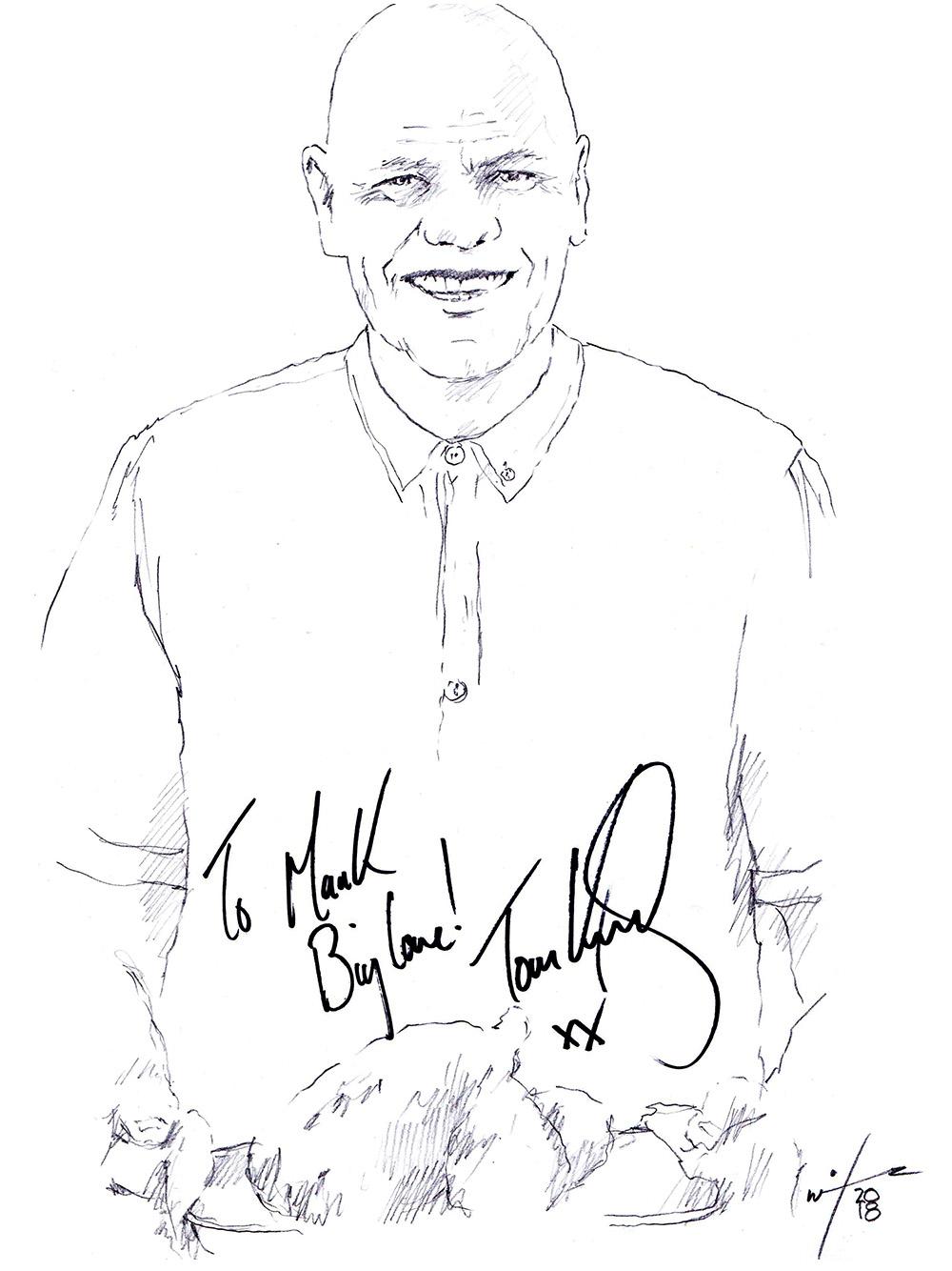 Autographed drawing of chef Tom Kerridge