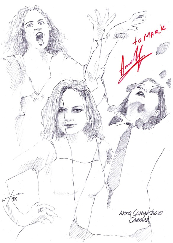 Autographed drawing of opera singer Anna Goryachova in Carmen