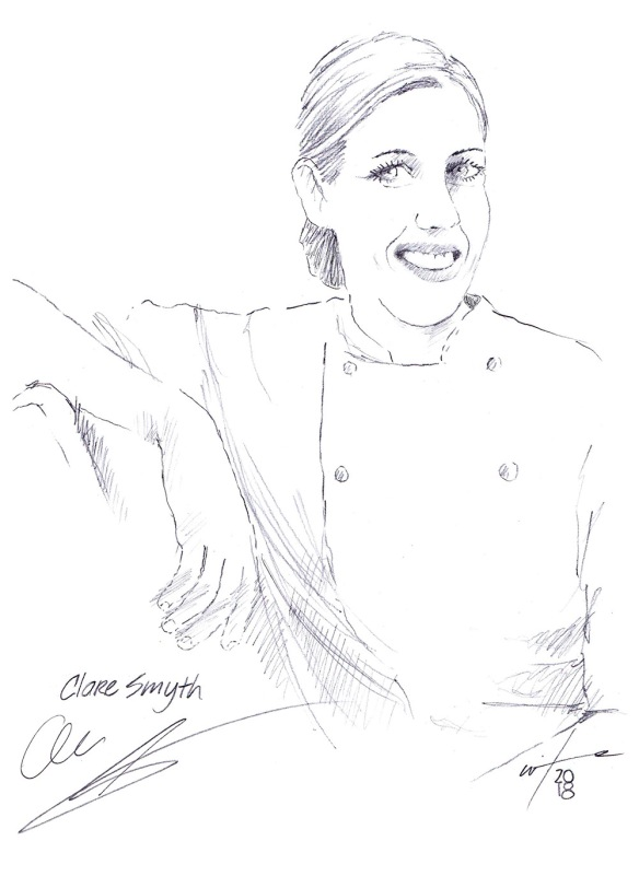 Autographed drawing of chef Clare Smyth