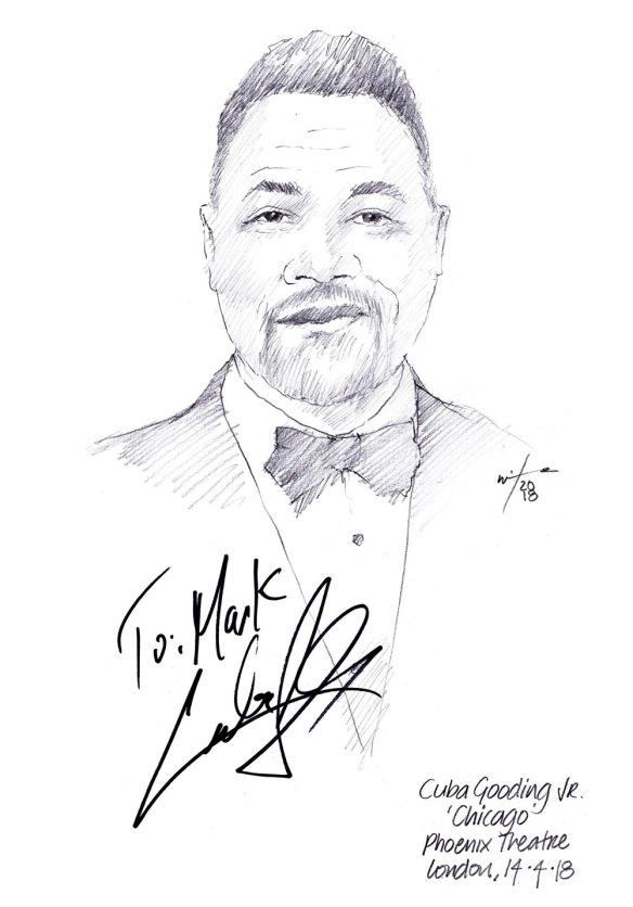 Autographed drawing of Cuba Gooding Jr in Chicago at the Phoenix Theatre on London's West End