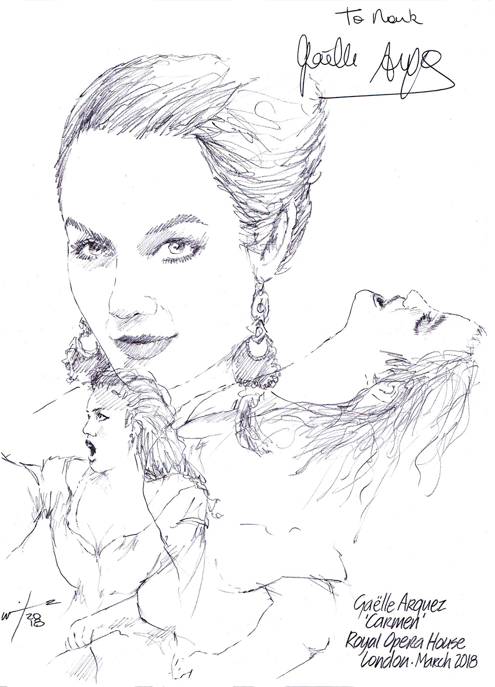 Autographed drawing of opera singer Gaelle Arquez