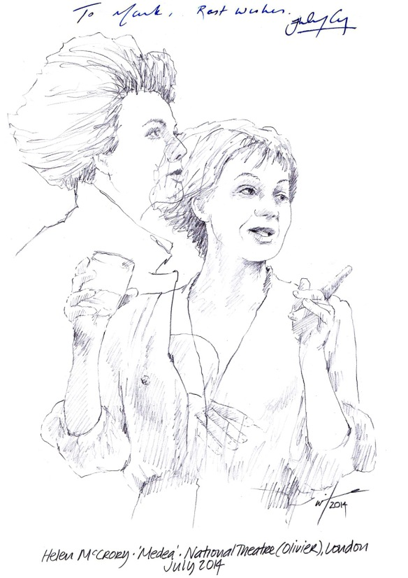 Autographed drawing of Helen McCrory in Medea at the National Theatre in London