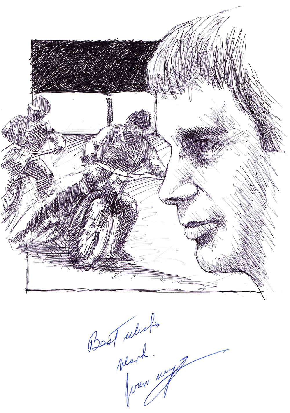 Autographed drawing of speedway racer Ivan Mauger