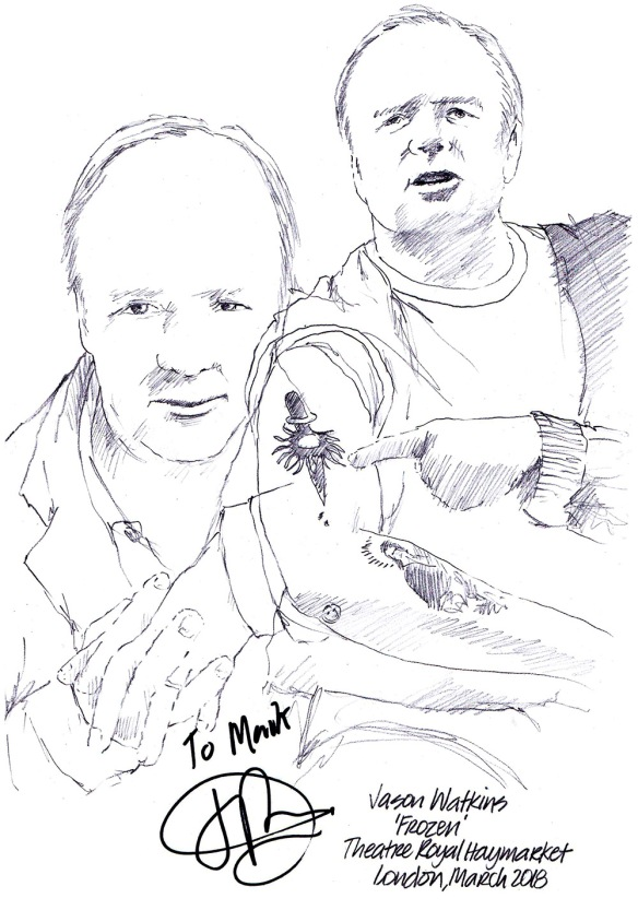 Autographed drawing of Jason Watkins in Frozen at the Theatre Royal Haymarket on London's West End