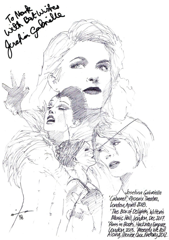 Autographed drawing of Josefina Gabrielle on West End