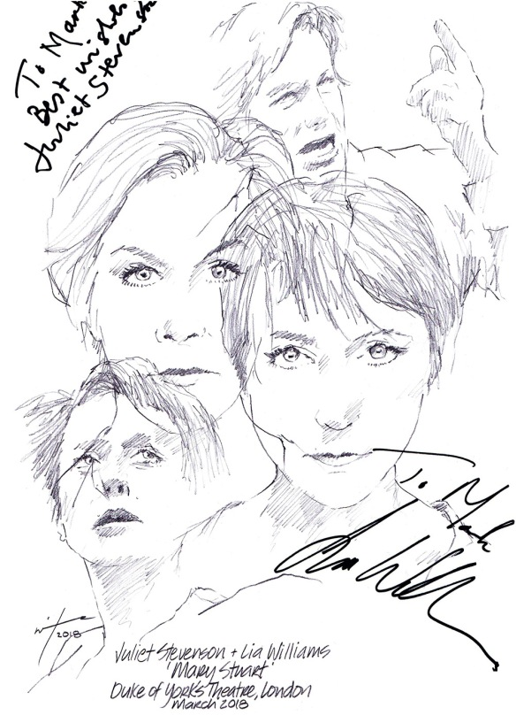 Autographed drawing of Juliet Stevenson and Lia Williams in Mary Stuart at the The Duke Of York's Theatre in London's West End