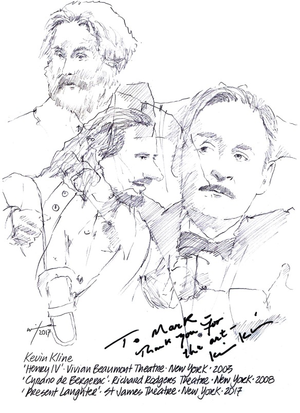 Autographed drawing of Kevin Kline in Present Laughter, Henry IV and Cyrano de Bergerac on Broadway in New York