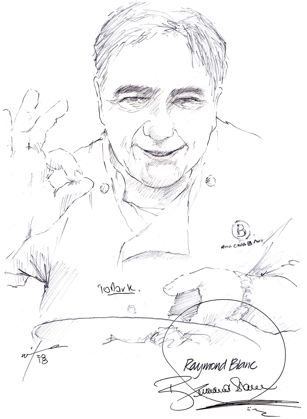 Autographed drawing of chef Raymond Blanc