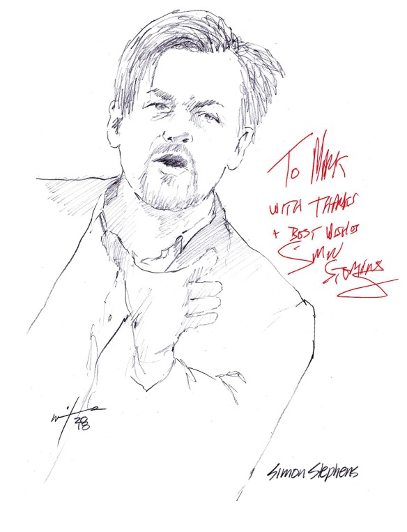 Autographed drawing of writer Simon Stephens