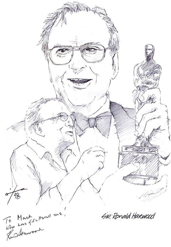 Autographed drawing of writer Sir Ron Harwood
