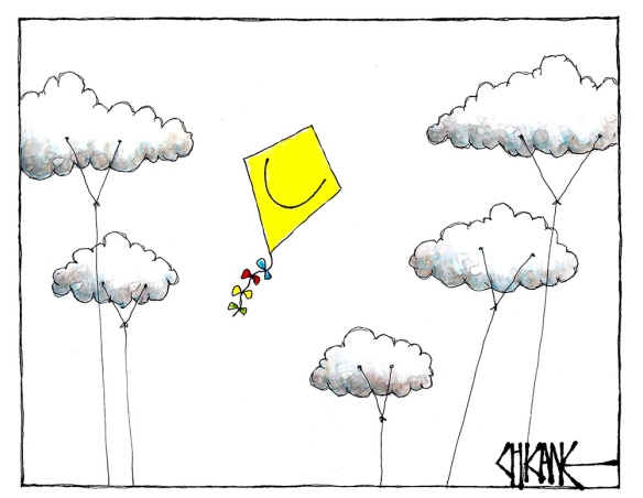 Cartoon of a kite flying fee in the sky while clouds are tied to the ground