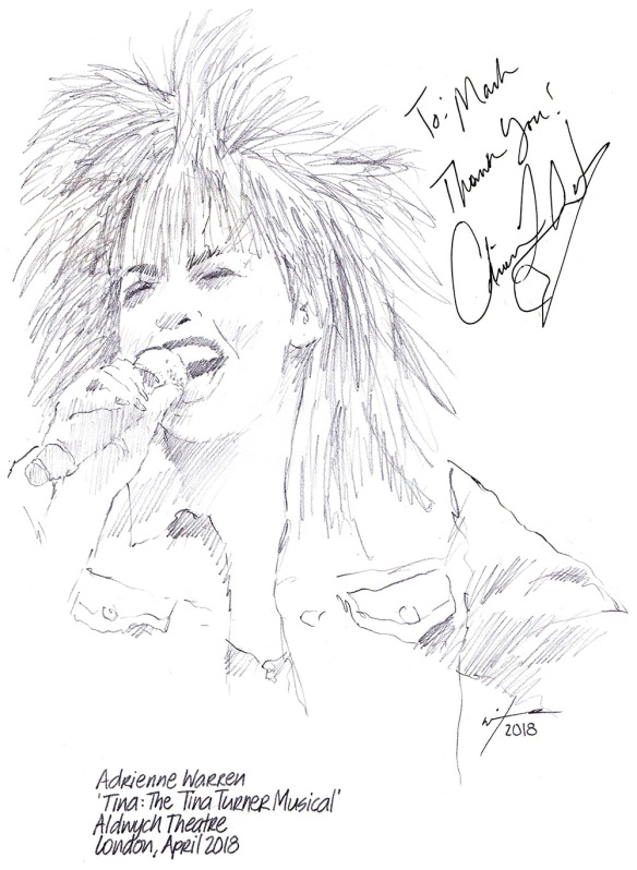 Autographed drawing of Adrienne Warren in Tina: The Tina Turner Musical at the Aldwych Theatre on London's West End