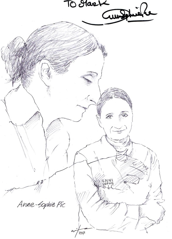Autographed drawing of chef Anne-Sophie Pic