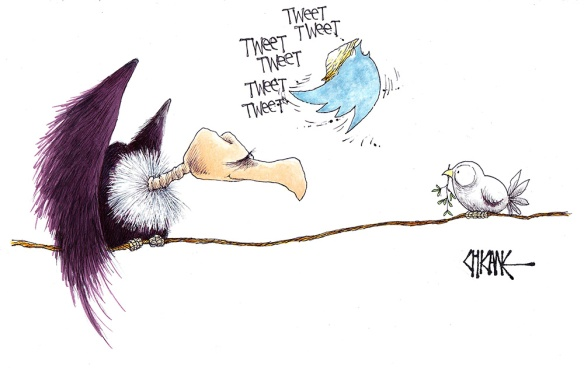 Bird calls cartoon, Twitter logo Trump flitting between a vulture and dove with an olive branch
