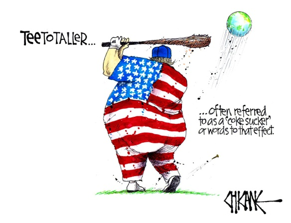 Cartoon of Trump golfing with the world as a bal. Captioned TEEtotaller, often reffered to as a 'coke sucker' or words to that effect'
