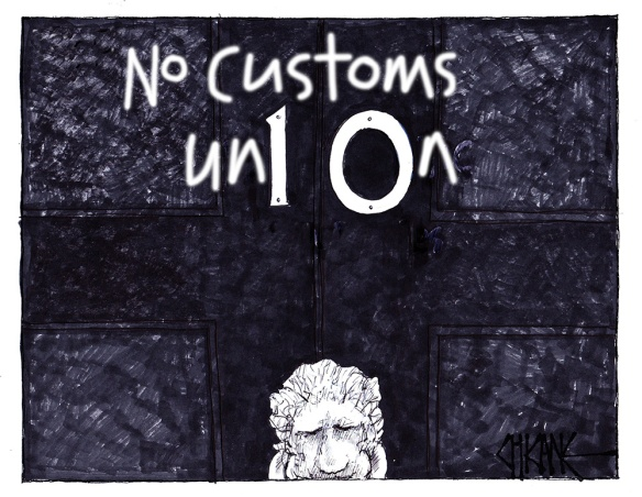 No Customs Union writing on the door of Number 10 Downing Street