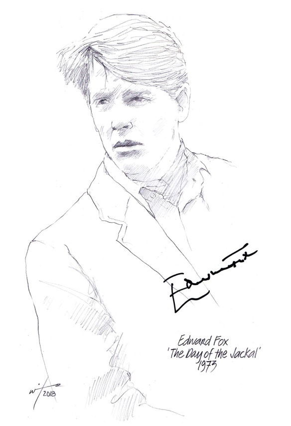"Autographed drawing of Edward Fox in the film ""The Day of the Jackal"""