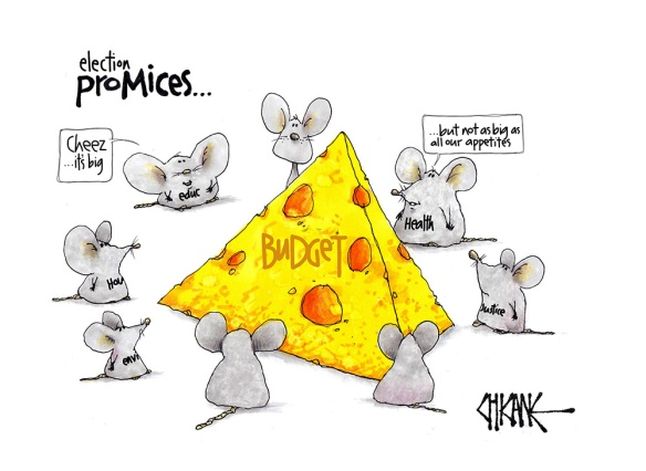 "Cartoon captioned ""election pro-mices"" with mice representing health, housing, education, the environment, justice etc surrounding a large cheese representing the budget."