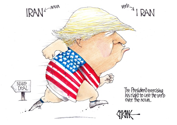 Iran the noun vs I ran the verb, with President trump running away from a deal