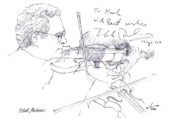 Autographed drawing of violinist Itzhak Perlman