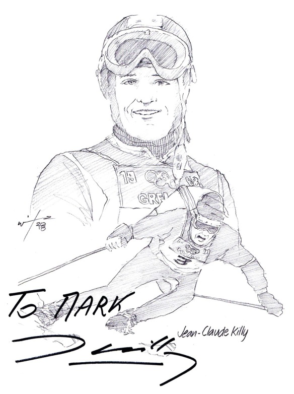 Autographed drawing of alpine skier Jean-Claude Killy