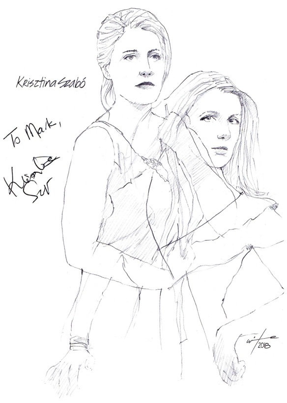 Autographed drawing of opera singer Krisztina Szabo