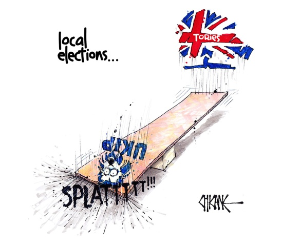 "Cartoon captioned ""Local Elections"" with UKIP and Conservative logos on a seesaw and the Conservative logo jumping up so that UKIP goes splat"