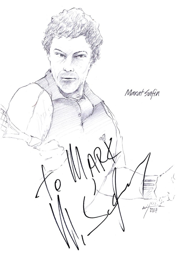 Autographed drawing of tennis player Marat Safin
