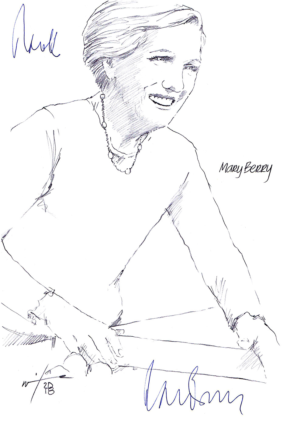Autographed drawing of chef Mary Berry