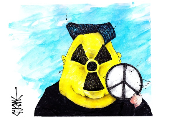 Cartoon of Kim Jong un with a nuclear symbol face holding a peace sign mask