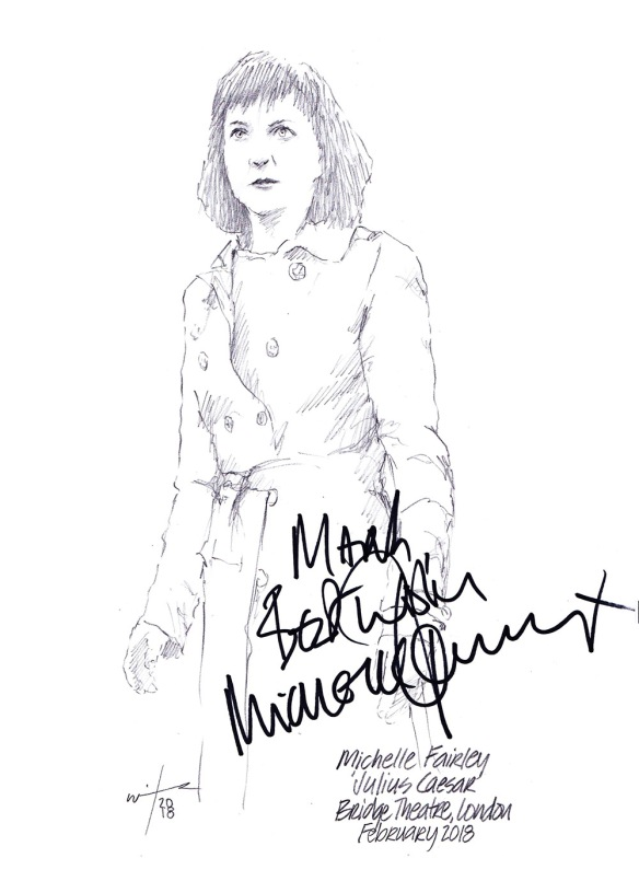 Autographed drawing of Michelle Fairley in Julius Caesar at the Bridge Theatre in London