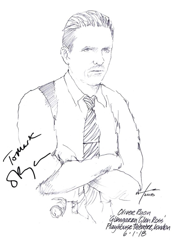 Autographed drawing of Oliver Ryan in Glengarry Glen Ross at the Playhouse Theatre on London's West End